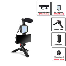 Condenser Microphone With Tripod LED Fill Light For Professional Photo Video Camera Phone For Interview Live Recording YouTube