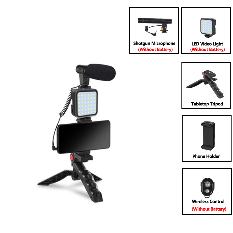 Micrófono de condensador con trípode, luz de relleno LED para cámara de vídeo y fotos profesional, para entrevista, grabación en vivo, YouTube