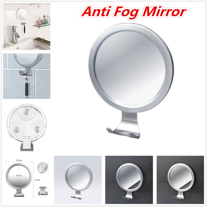 Stainless Steel Anti Fog Shower Mirror Bathroom Shaving Mirror Wall Vanity Makeup Mirror Bathroom Supplies With Suction Cup Hook