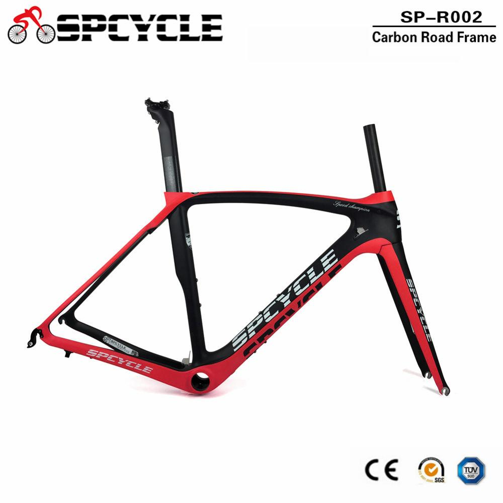 Spcycle 700C Cycling Road Carbon Bicycle Frames,China Factory <font><b>OEM</b></font> Full carbon Fiber Road <font><b>Bike</b></font> Frame+Fork+Seatpost+Headset image