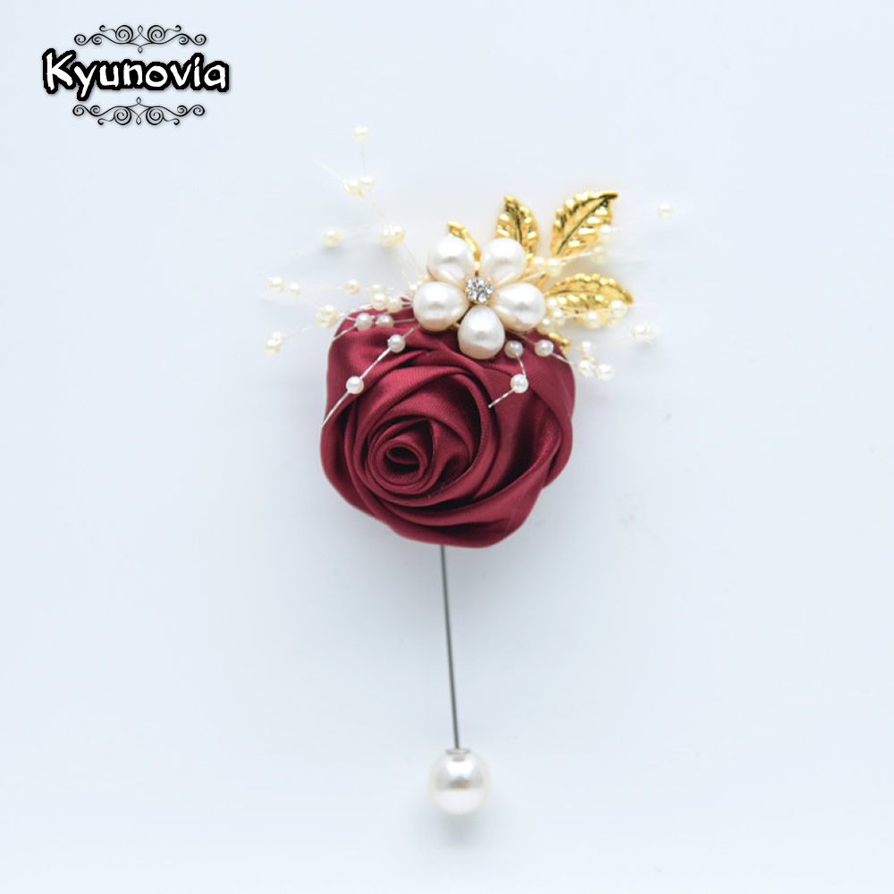 Kyunovia Pearl Flower Golden Leaf  Best Man Gift Formal Prom Party Pins Bridegroom Wedding Bride Corsage Groom Boutonniere BY53