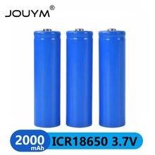 JOUYM 18650 Батарея 3,7 v 2000 mAh 18650 литиевая аккумуляторная батарея с острым (без PCB) для фонариков