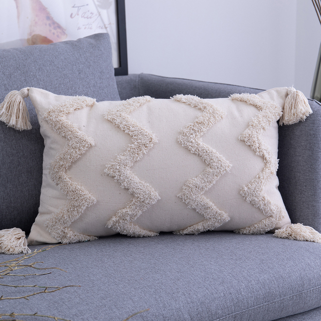 Tassels Cushion Cover 45x 45cm/30x50cm Beige Pillow Cover  Handmade Square Home Decoration for living Room Bed Room Zip Open 5