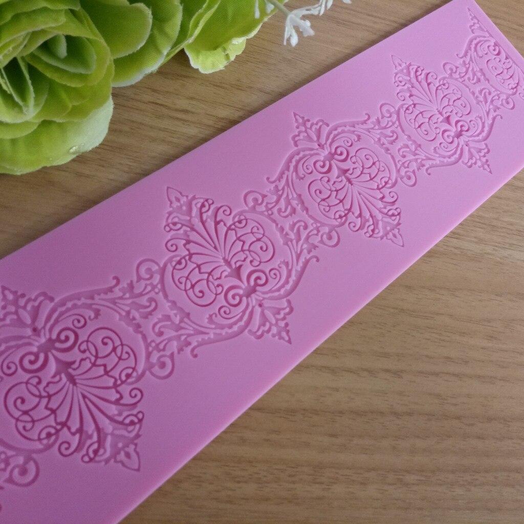 Красивые кружевные силиконовые прессформы, коврик для помадки для торта, сахарная форма, инструменты для приготовления пищи, цветочные укр...