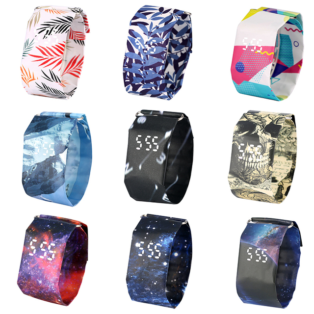2020 Trendy DIGITAL LED Watch Paper Water/Tear Resistant Watch Perfect Gift 10 Variants 2