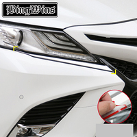 Car styling Accessories For Toyota Camry 2018 2019 Chrome Front Head Light Lamp Eyelid Eyebrow Strip Cover Trim