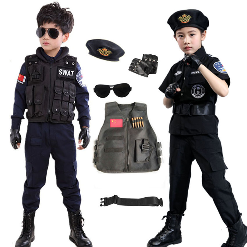Tiny Cop Cosplay Military Uniform For Children Boy Gril Carnival Halloween Costume For Kdis Disguise Clothing Role Play Party