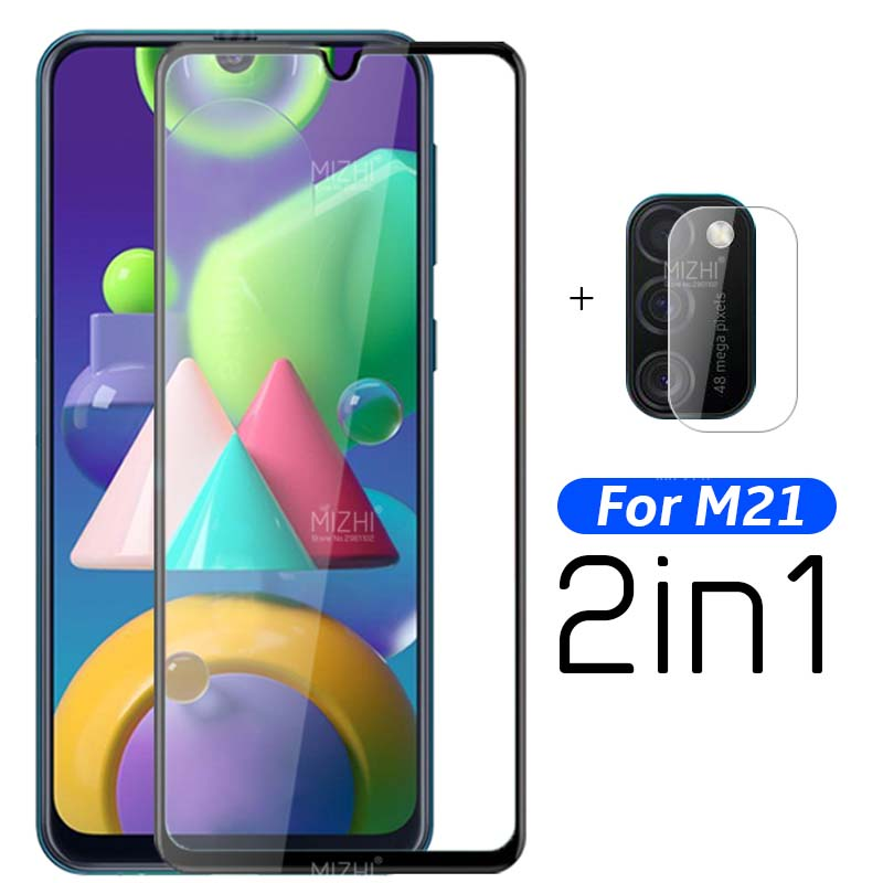 2 in 1 9D full gule protective glass for samsung m21 camera lens screen protector on sumsung m 21 21