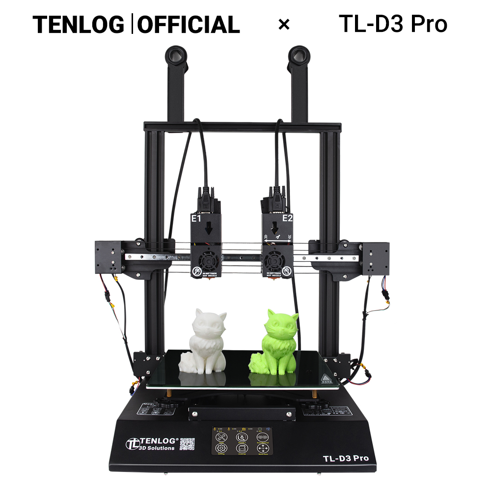 TENLOG TL-D3PRO With TMC2208 Independent Dual Extruder 3D Printer Large Print Size LCD Touchscreen