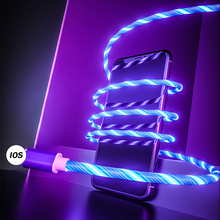 LED Glow Flowing Data USB Charger Cable Micro Charging Cord For iPhone Samsung S10 Type C Cables Bright Glowing Wire
