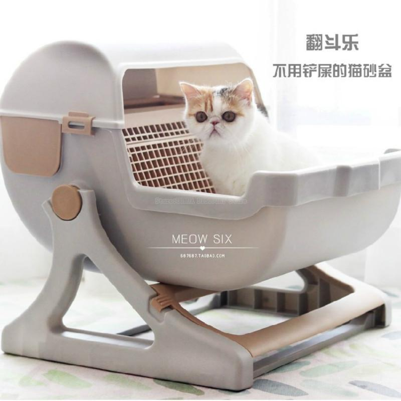 Large size semi-enclosed cat litter boxes Resin Cat toilet Resistant durable Adjustable bracket(China)