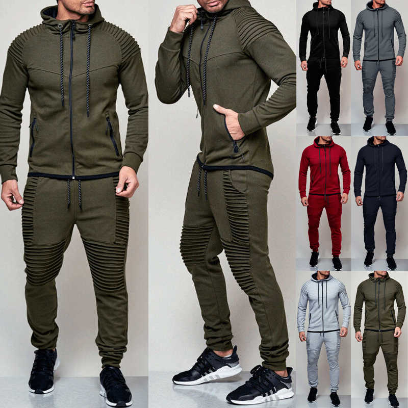 Hirigin 2 Stuks Herfst Running Trainingspak Mannen Sweater Sport Set Gym Kleding Mannen Sport Pak Trainingspak Sport Wear
