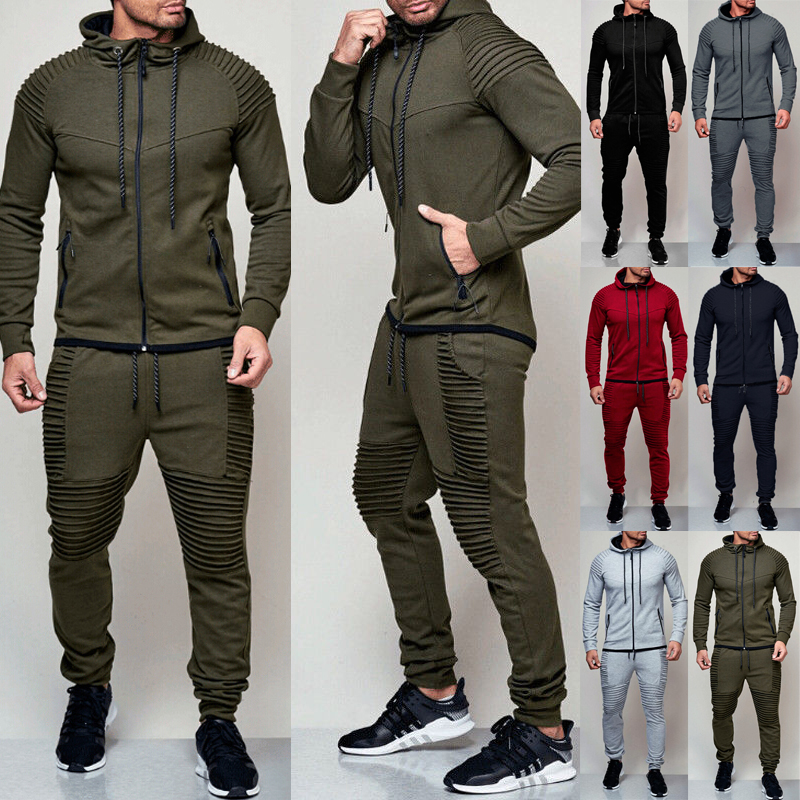 Hirigin 2 Pieces Autumn Running Tracksuit Men Sweatshirt Sports Set Gym Clothes Men Sport Suit Training Suit Sport Wear