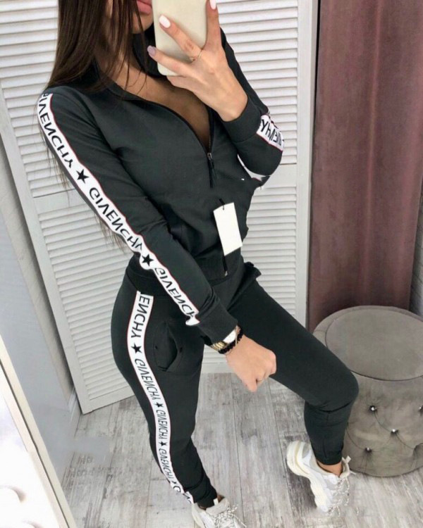 New Casual Women Tracksuit 2Pcs 2019 Ladies Long Sleeves Crop Top Zipper Sweatshirt Coat Pants Set Lounge Wear Casual Suit
