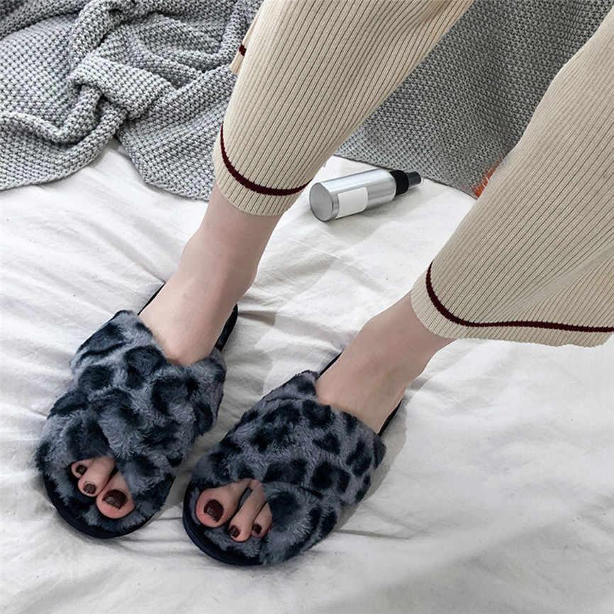 Zapatillas de leopardo para mujer nuevos zapatos calientes de invierno zapatillas suaves de felpa en interiores antideslizantes zapatos antideslizantes de moda para dormitorio 2019 30