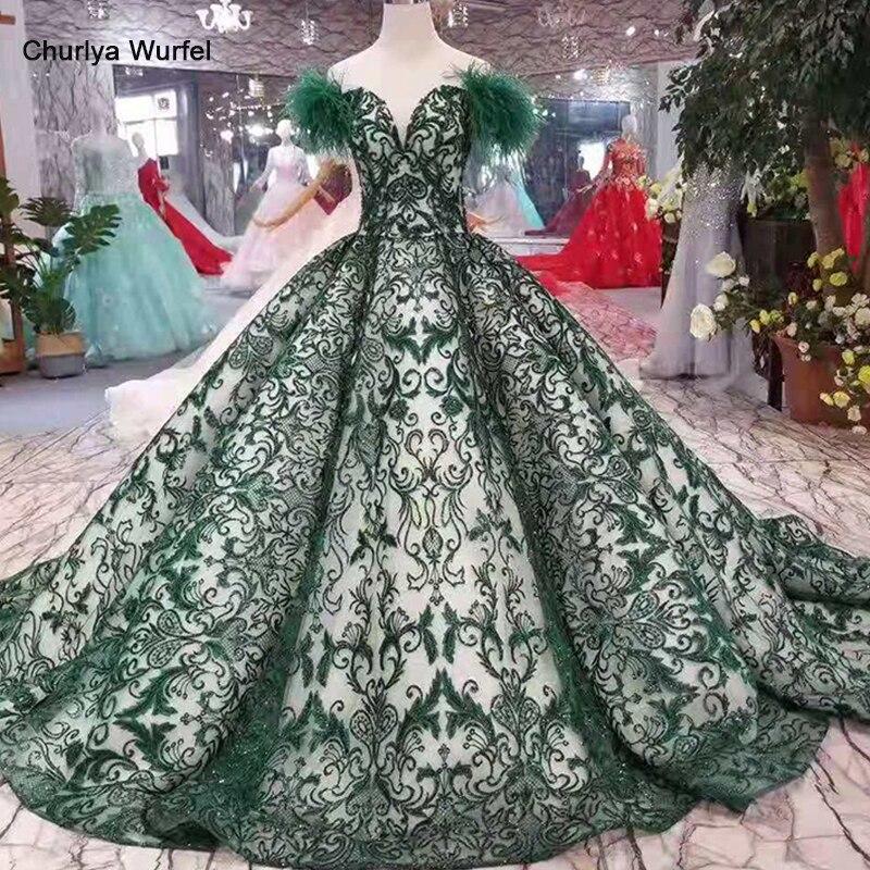 LS11091 robe de soirée verte longue dentelle fleurs hors épaule chérie plume manches robe de bal 50cm train grossiste discount