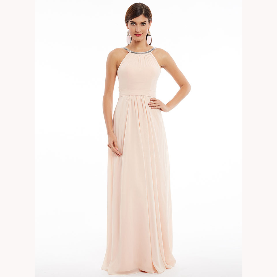 Dressv pearl pink long   evening     dress   cheap scoop neck beading ruched wedding party formal   dress   a line   evening     dresses