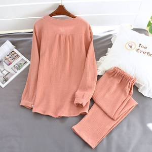 Image 5 - 2020 New Autumn Cotton Crepe Long Sleeved Trousers Pajamas for Women Sleepwear Pyjamas Women Plus Size Breathable Home Clothes