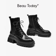 BeauToday Women Ankle Boots Platform Genuine Calfskin Leather Side Zip Retro Round Toe Ladies Chunky Heel Shoes Handmade 03511