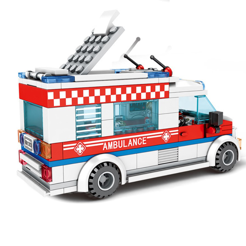 Sembo Blocks City Ambulance Building Blocks Model Sets with Action Figure DIY Bricks Classic Educational Toys for Children Gift