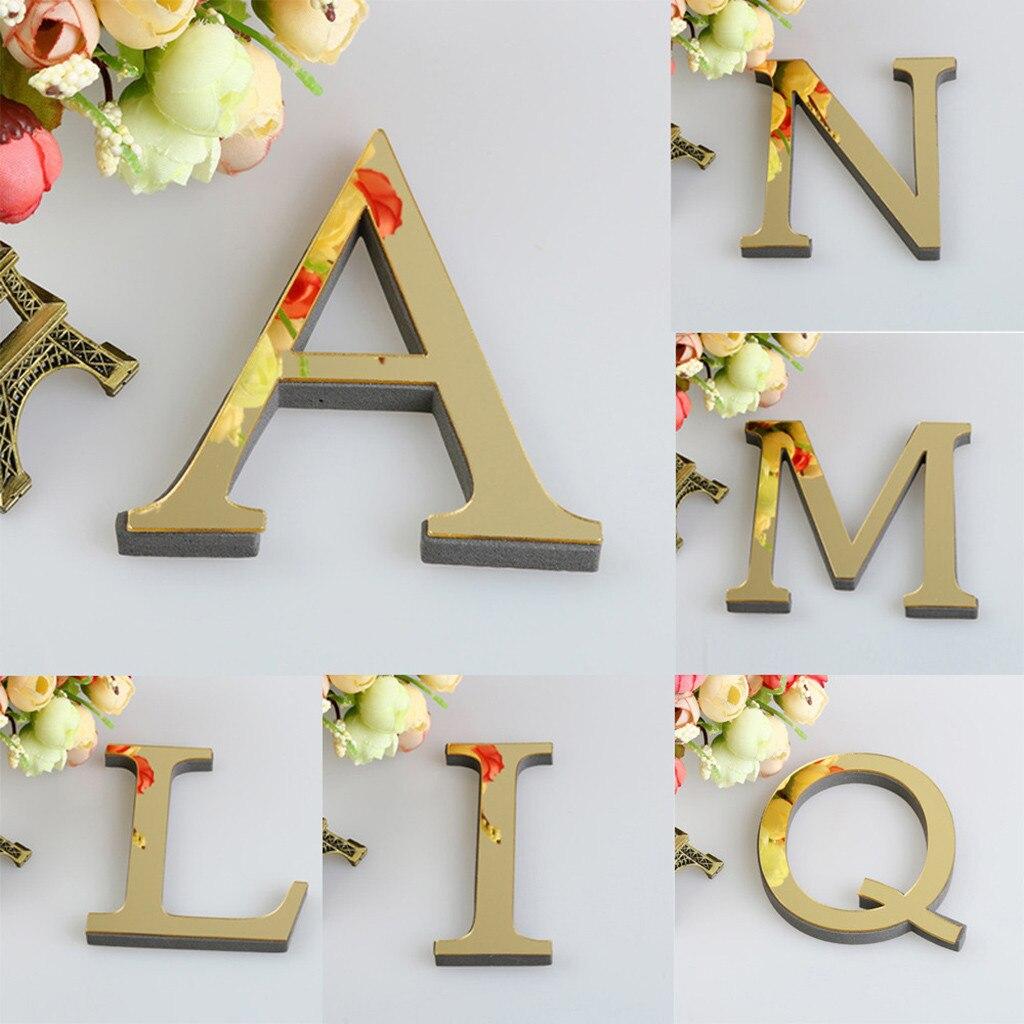 15 см 3D зеркало буквы наклейки на стену для» с возможностью нанесения собственного логотипа Алфавит Свадебные буквы