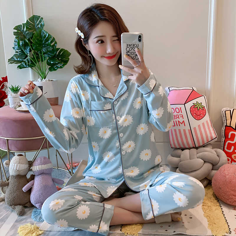 2019 new Spring autumn thin nursing pajamas sets maternal long sleeved home clothes pregnant women sleepwear postpartum suit