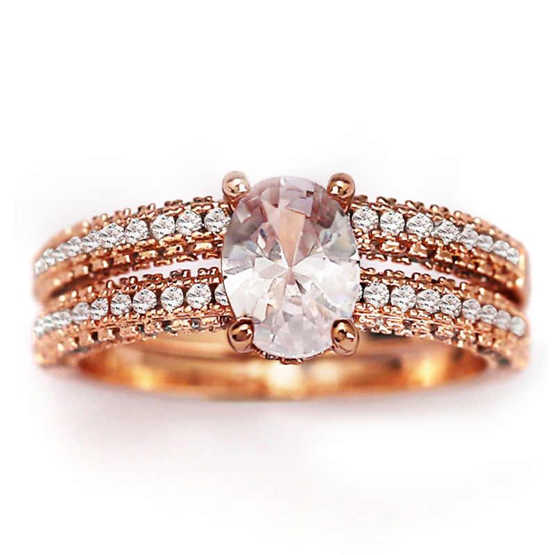 Huitan Trendy Solitaire Oval Crystal Steen Vinger Ringen Voor Vrouwen Met Micro Verharde Romantische Rose Gold Engagement Vrouwelijke Ringen