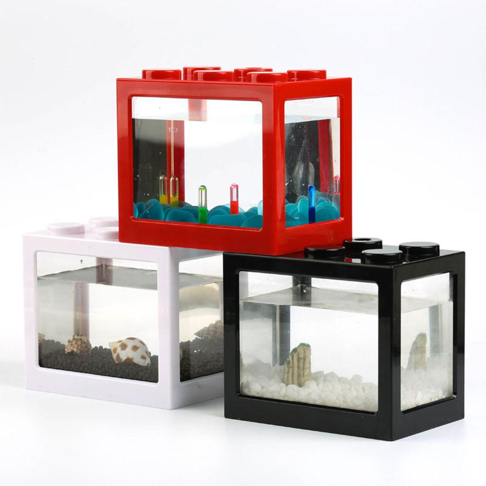 Superposed Mini Aquarium Fishbowl For Rumble Fish Marimo Spider Marimo(No USB No Light)
