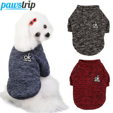 Soft Knitted Dog Clothes Winter Dog Coat Small Dog Sweater Shih tzu Pug Poodle Puppy Jacket Pet Jumper Sweater For Dog Cat S-2XL(China)
