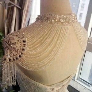 Image 4 - Bolero hecho a mano con apliques de cristales, envoltura de boda, Bolero, hecho en China, accesorios de boda, vestido de noche con chal Bolero