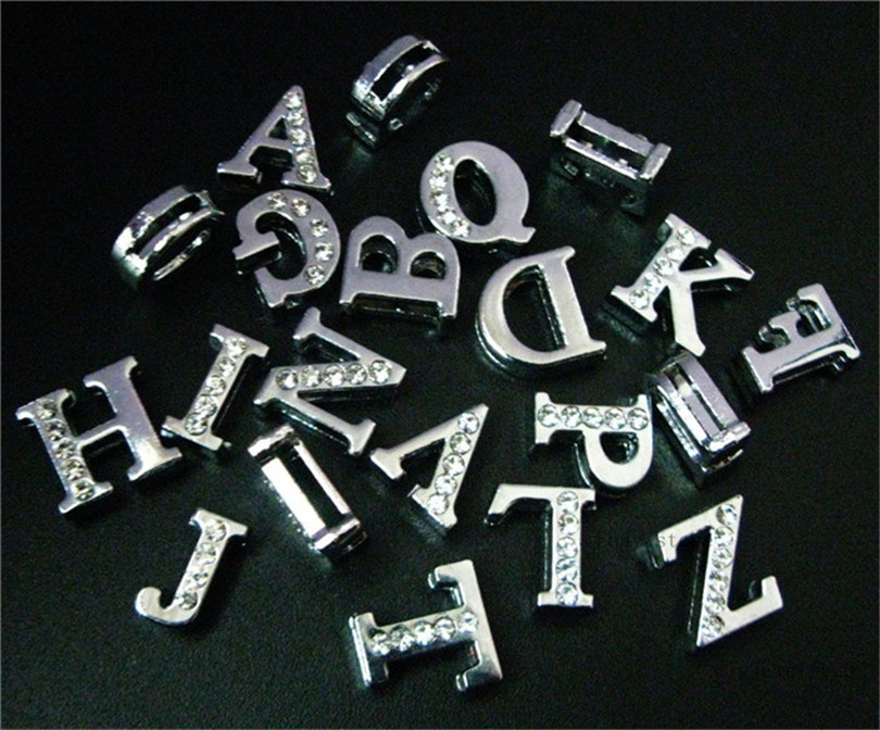 """HOT Wholesale /""""A-Z/"""" 18mm Full Rhinestone slide letters charms with 42cm necklace"""