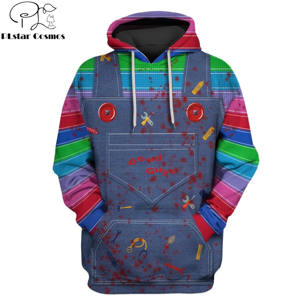 2019 New Fashion Men Hoodies 3D Full-Print Horror Movie Chucky Hoodie/Sweatshirt Apparel Cosplay Costume Unisex Hoody Streetwear