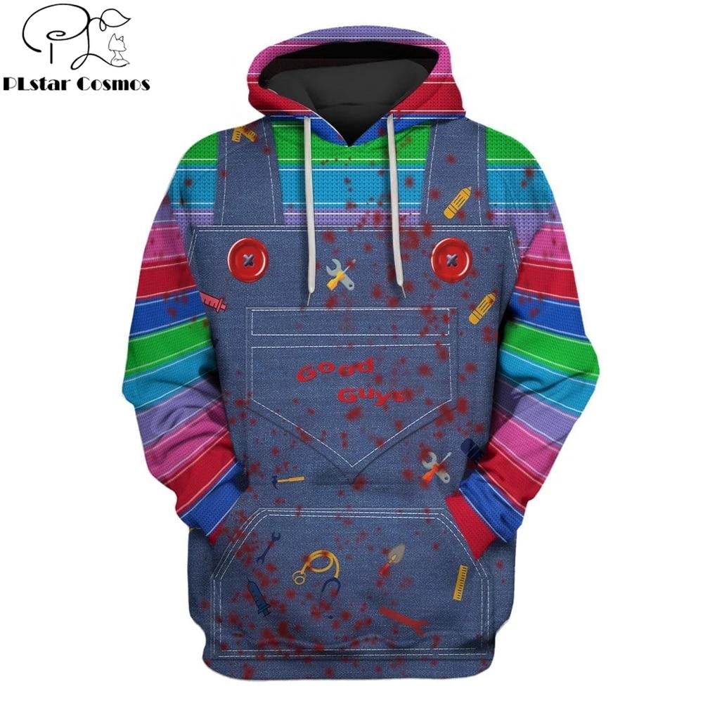 2019 New Fashion Men Hoodies 3D Full-Print Horror Movie Chucky Hoodie/Sweatshirt Apparel Cosplay Costume Unisex Hoody Streetwear