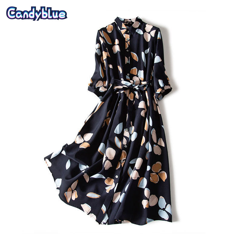 Large size chiffon printed dress female retro 2021 new waist three-quarter sleeve shirt dress loose body covering bohemian dress