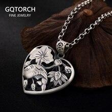 Стерлинговое Серебро 990 кулон в форме сердца рыба и Лотос резьба ожерелья на заказ & Кулоны Подарки для женщин хорошее ювелирное изделие