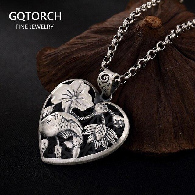 Sterling Silber 990 Anhänger Herz Geformt Fisch Und Lotus Carving Personalisierte Halsketten & Anhänger Geschenke Für Frauen Edlen Schmuck