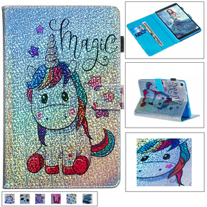 Glitter diamond unicorn leather case tablet case For Samsung Tab A 8.0 inch 2019 SM-P200 P205 Magnetic Flip stand cover + pen(China)