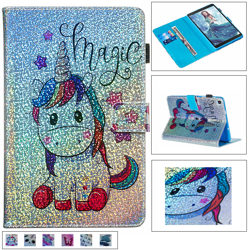 Glitter diamond unicorn leather case tablet case For <font><b>Samsung</b></font> Tab A 8.0 inch 2019 SM-P200 <font><b>P205</b></font> Magnetic Flip stand cover + pen image
