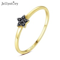 Jellystory Luxury 14K Gold Ring for Women Five pointed Star Obsidian Gemstones Rings Fashion Fine Jewelry Wedding Gift Wholesale