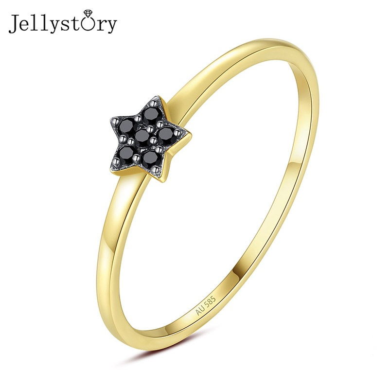 Jellystory Luxury 14K Gold Ring for Women Five-pointed Star Obsidian Gemstones Rings Fashion Fine Jewelry Wedding Gift Wholesale