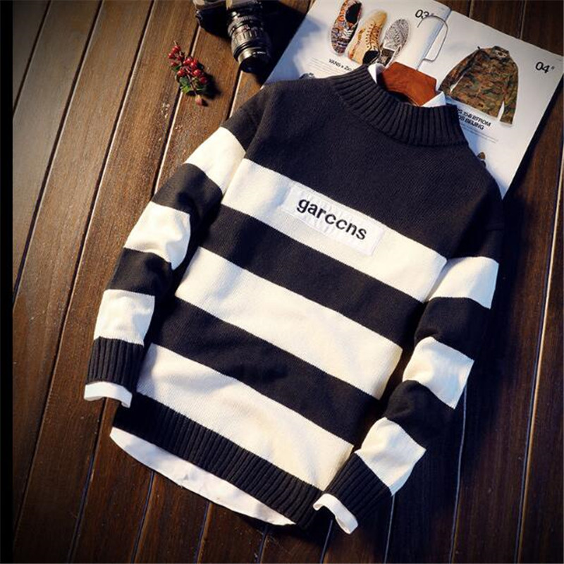 2019 New Fashion Brand Mens Sweater Pullover Striped Loose Jumpers Knitred Woolen Autumn Korean Style Casual Men Clothes