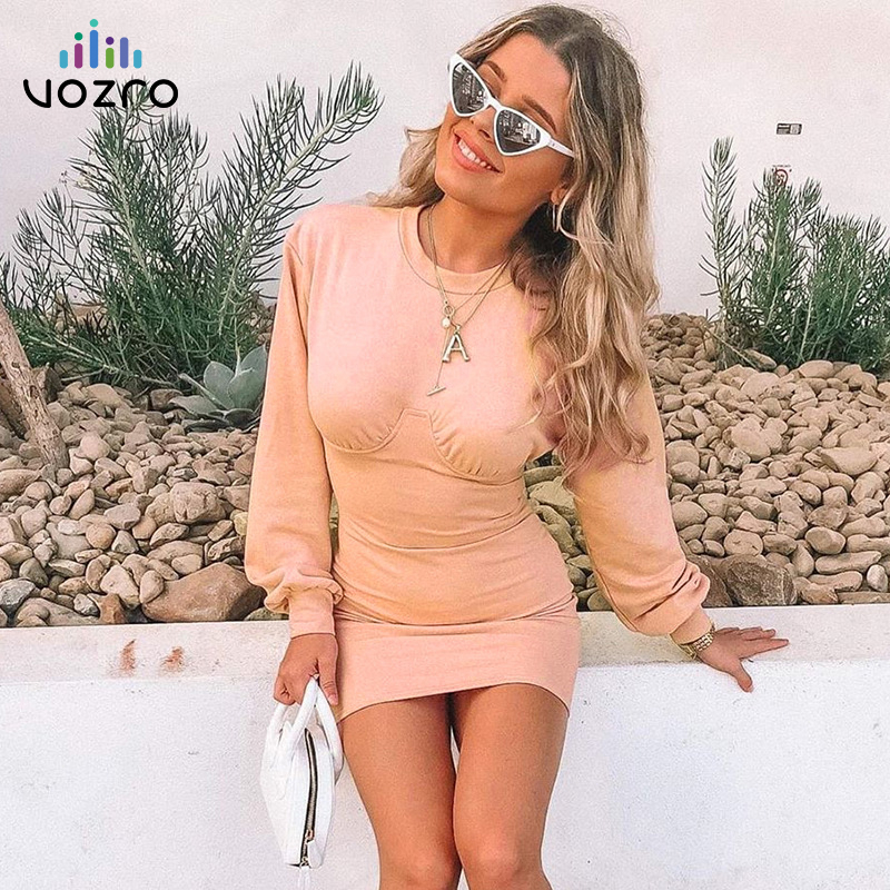 VOZRO 2019 Knitting Sexy Winter Women Dress Woman Autumn Split Joint Long Sleeve Round Neck Package Hip Vestido Dresses