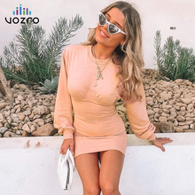 VOZRO 2019 Knitting Sexy Winter Women Dress Woman Autumn Split Joint Long Sleeve Round Neck Package Hip Skirt Vestido Dresses