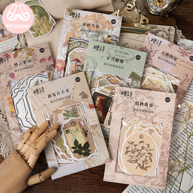 Mr.paper 45Pcs/pack 6 Designs Vintage Retro Hangtag With Hole Creative Stickers Bullet Journal Deco Stationery Stickers