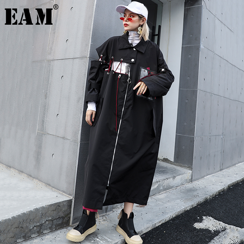 [EAM] Women Split Joint Print Big Size Trench New Hooded Long Sleeve Loose Fit Windbreaker Fashion Tide Autumn Winter 2019 1B341