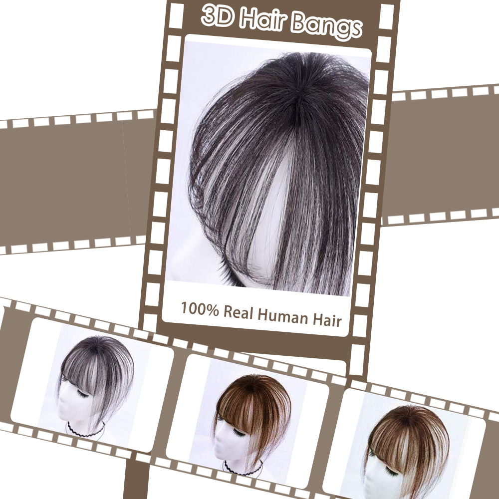 Image 2 - Moresoo Air Front Fringe Clip in Hair Extensions One Piece Machine Remy Straight Human Hair Accessories Without Hair TemplesBangs   -