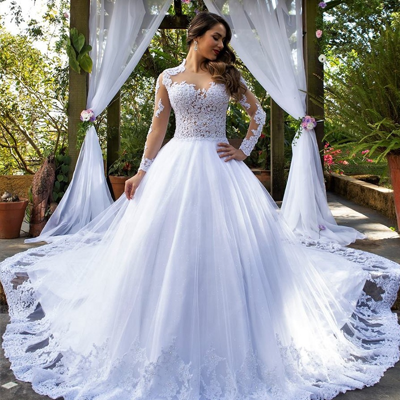 Vestidos De Novia Latest Wedding Dress 2020 Lace Appliques Beaded Bridal Gowns Robe De Mariee See Through Long Sleeves Dresses