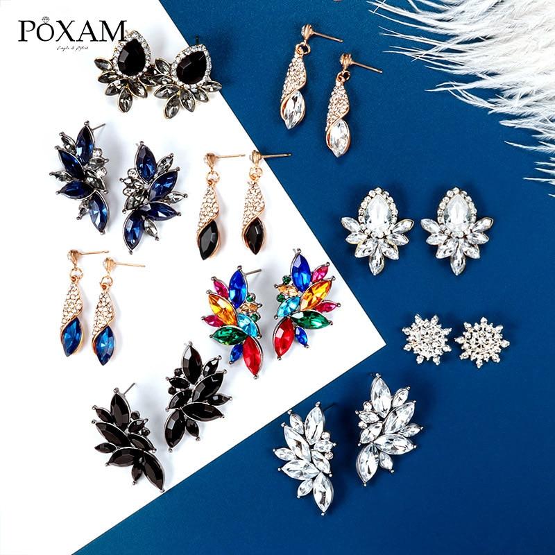 POXAM Korean Statement Black Crystal Earrings For Women Geometric AAA Zircon Hot Sell Stud Earrings 2019 Female Fashion Jewelry