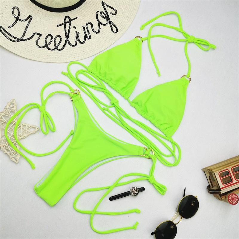 Одноцветный сексуальный комплект бикини, купальник для женщин, купальник с пуш-ап, бикини с лямкой через шею, Feminino, бикини на шнуровке, 2020, ку... 38
