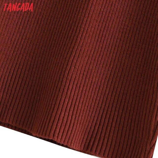 Tangada Fashion Women Solid Elegant Sweater Dress Sleeveless Zipper Ladies Warm Midi Dress QW47 5